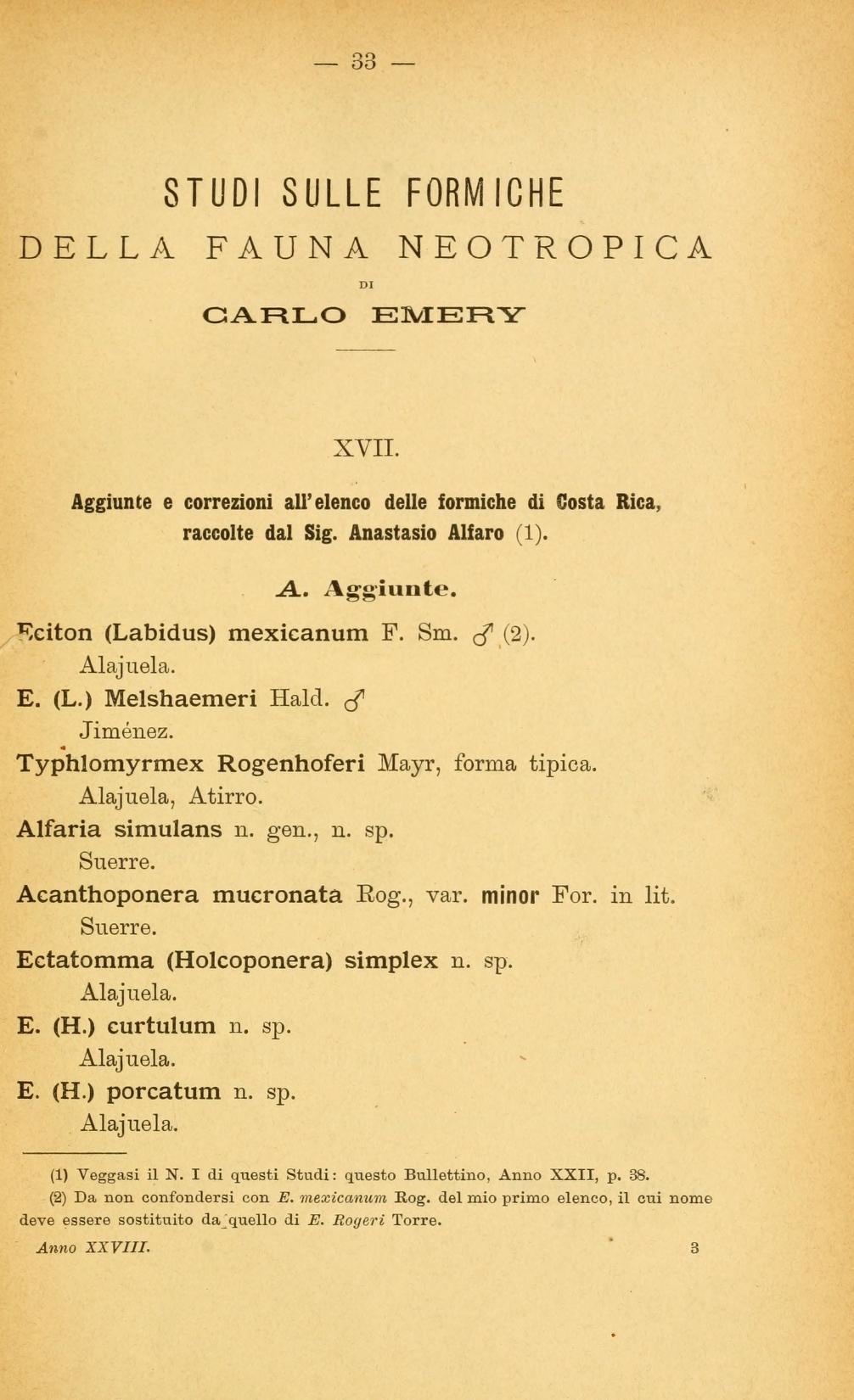 Studi sulle formiche della fauna neotropica. XVII-XXV